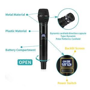Image 3 - EYK E100 UHF stała częstotliwość 2 kanały bezprzewodowy System mikrofonowy podwójny ręczny mikrofon daleki zasięg dla KTV Karaoke Family Party