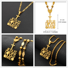 Anniyo Flower Cross Jesus Loves Me Pendant Necklaces Women Men Girl Boy Chuuk Micronesia Guam Hawaii Religion Jewelry #118421(China)