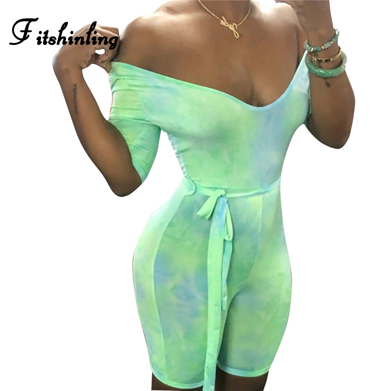 Fitshinling Tie Dye Casual Biker Playsuits Jumpsuits Women Sashes Fitness Athleisure Short Overalls Sexy Workout Push Up Rompers