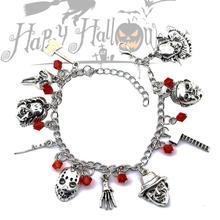 Chucky Face Bracelets Women Penny Wise Ghost Face Bracelets Halloween Creepy Horror Movie Charm Bracelet Gift ghost face plus size skew neck halloween sweatshirt
