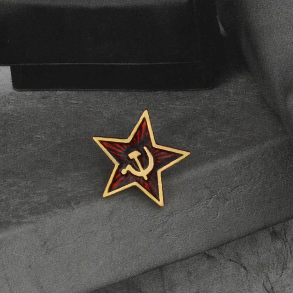 Simbol Enamel Pin Bintang Merah Palu Arit Komunisme Lencana Bros Hadiah Uni Soviet Marxisme Logo Perhiasan untuk Mantel Topi