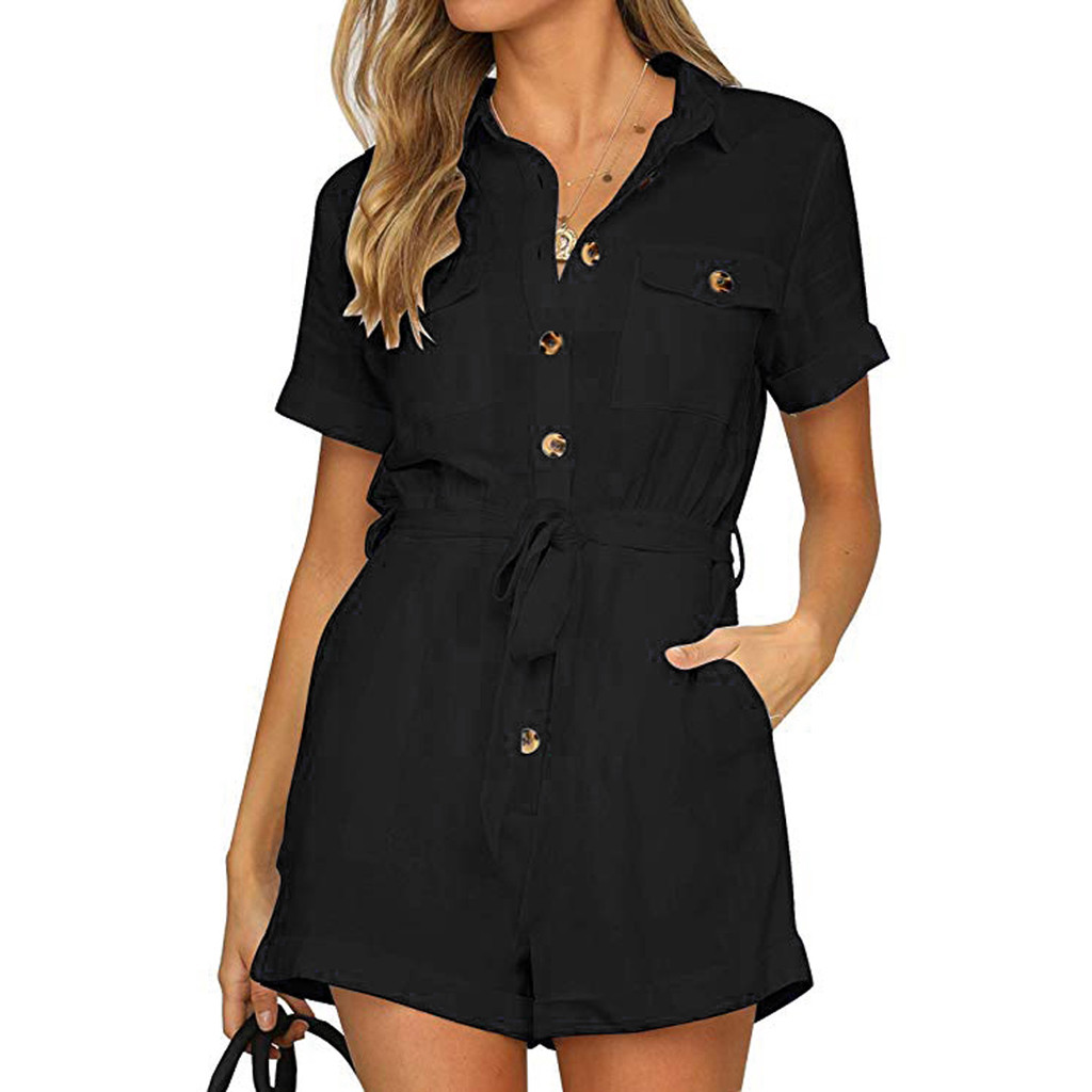 Women's Jumpsuit Button Down Cuffed Short Sleeve Office Lady Summer Clothes Solid Color Turn down Collar Playsuit Jumpsuit