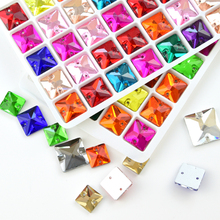 Different colors sewing rhinestone square shape glass stone two holes sew-on rhinestones for diy wedding dress accessories S0011