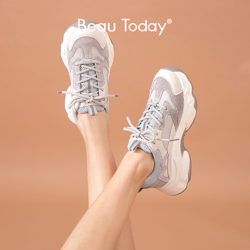 BeauToday Chunky Sneakers Women Genuine Cow Leather Platform Shoes Lace-Up Mixed Colors Lady Casual Shoes Handmade 29356