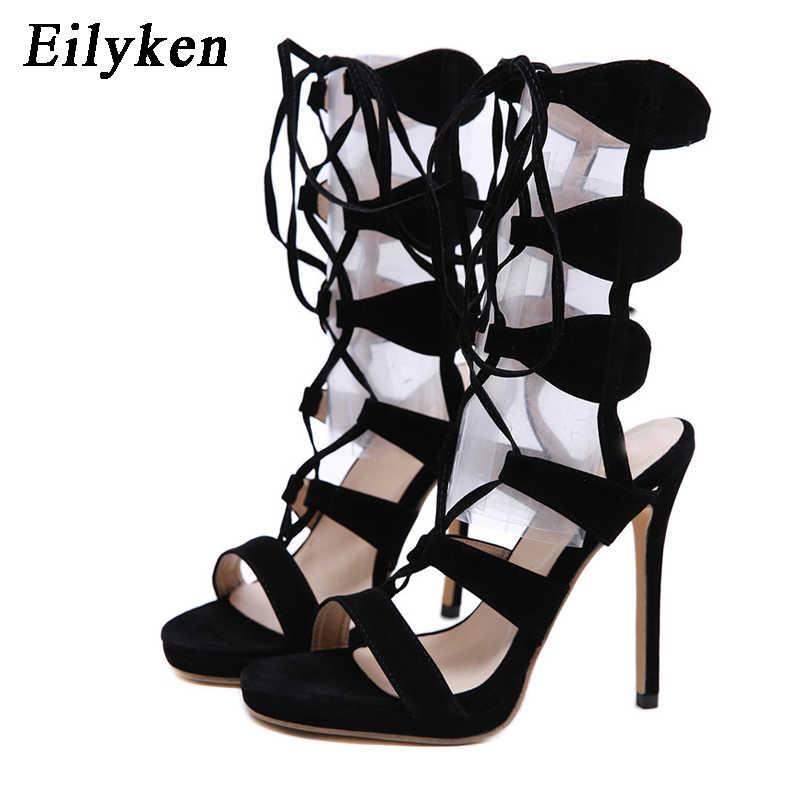 Eilyken roma ayak bileği bağcıklı ayakkabı kadın seksi gladyatör Peep toe sandalet çizmeler siyah ince yüksek topuklu yaz gece kulübü kadın pompaları