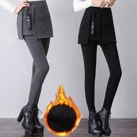 3XL 6XL Women Plus Velvet Pants 2019 New Women Fashion False Two Pieces Warm Winter Trousers Female Skirt Pants High Quality