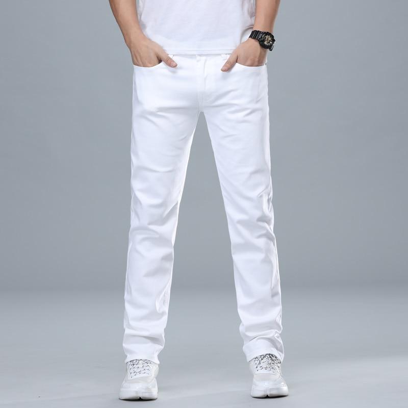 Джинсы мужские классические, Классические штаны из денима, Стрейчевые хлопковые, в деловом стиле, белые