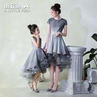 Mom and Daughter Dress Mommy and Me Gray Blue Floral Printed Long Dress Mother Baby Wedding Dress Family Matching Clothes