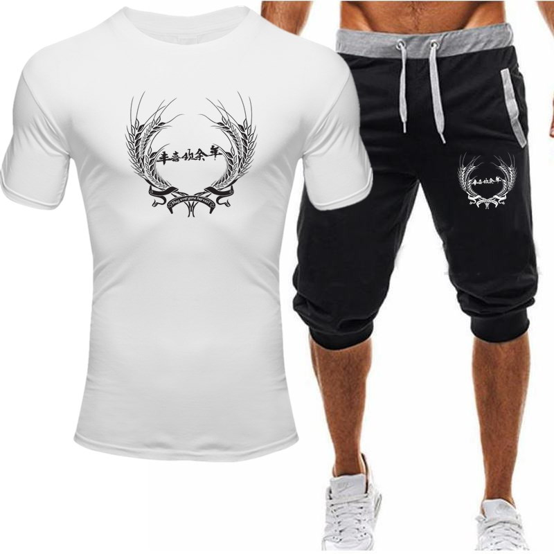 Summer Sports Suit Men's Suit T-shirt + Shorts Two-piece Casual Sportswear O-neck Printed Sportswear Sportswear Sportswear Men