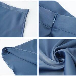 Image 5 - تنورة نسائية بنمط كوري على شكل حرف a من الساتان الأزرق والأسود عالية الخصر بطول الكاحل للسيدات تنورات نسائية faldas فام Jupes Saias Mulher