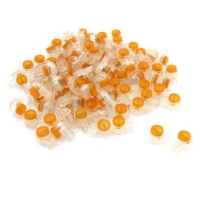 en title1:100 Pieces Air Tight Orange Clear Button Cable UY Butt Splice Connectors|Connectors| |  - title=