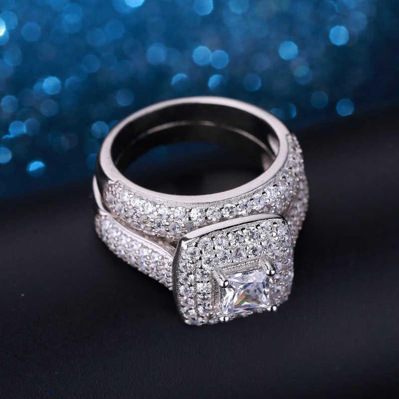 Yanhui トレンディ高級 925 スターリングシルバー結婚指輪セットバンドブライダル少女や女性のためのレディース愛のカップルペアジュエリー KR149