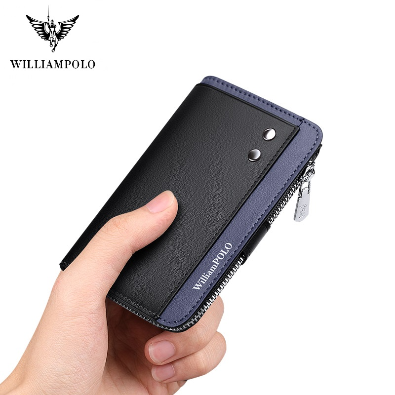 WilliamPolo Cowhide Leather Key Case Leather Men's Multifunctional Key Chain Coin Purse Large Capacity Universal Car Key Storage