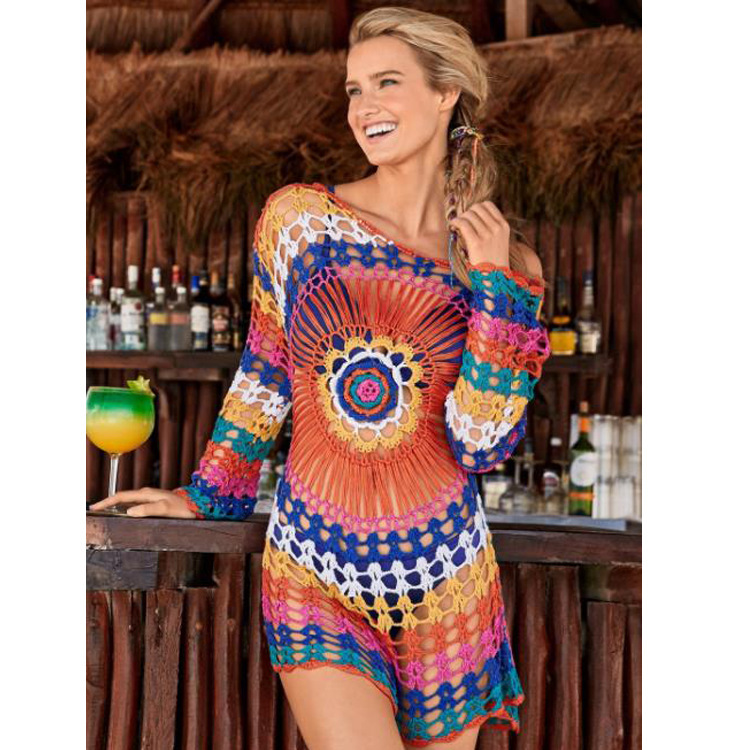 2019 Europe And America Crochet Hollow Out Cover-up Beach Knitted Blouse Long Sleeve Holiday-Bikini Rainbow Coat
