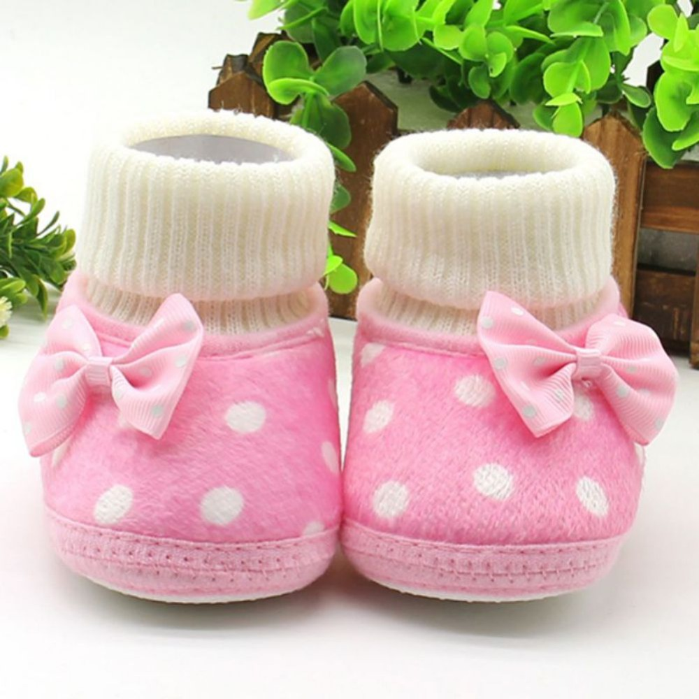 Newborn Infant Toddler Baby Girls Shoes Bow Knot Fleece Snow Boots Winter Princess Booty First Walker Prewalkers New