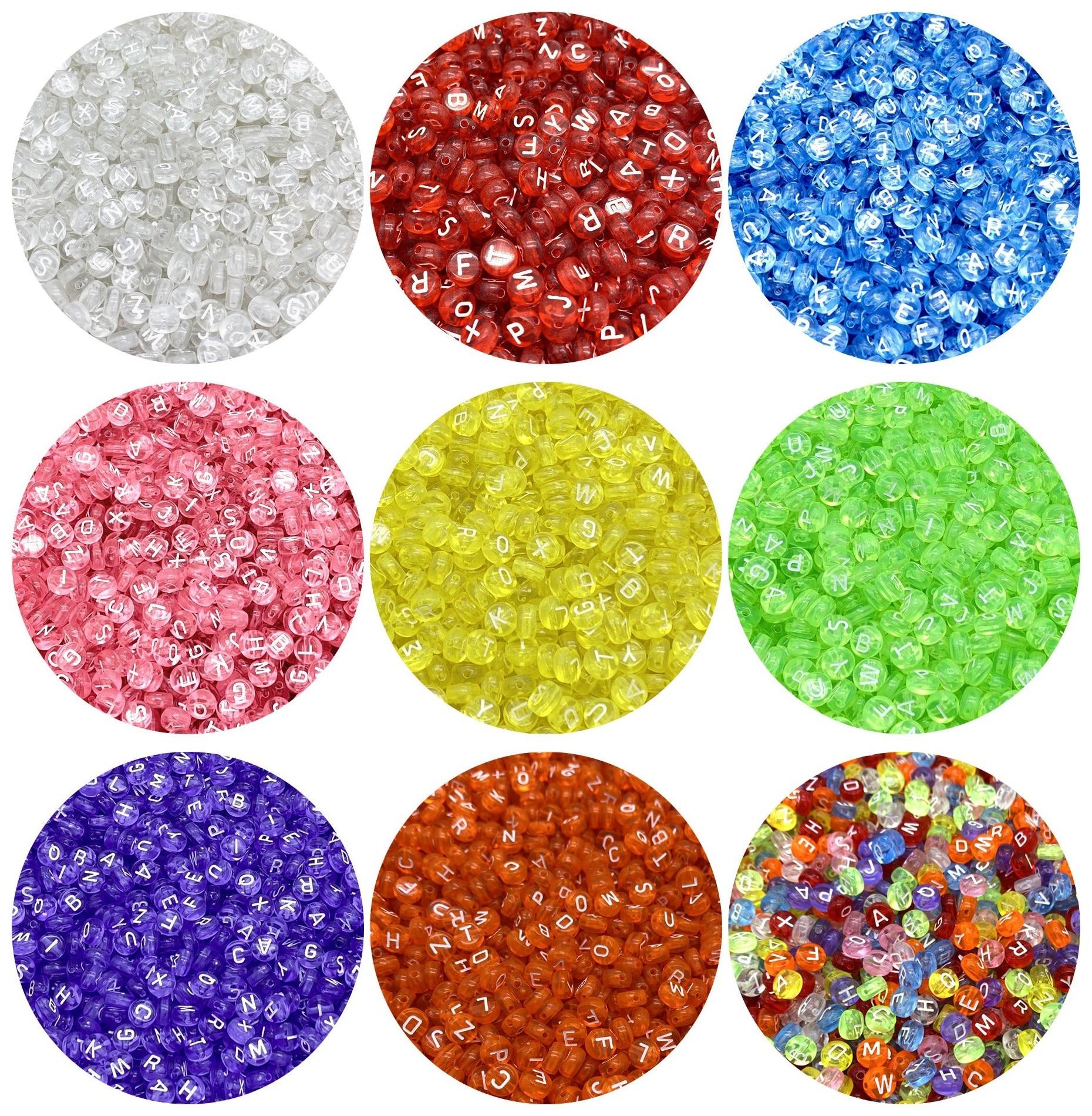 Perles de forme ovale colorées, mélange de perles de forme ovale, 26 breloques de l'alphabet, pour fabrication de bracelets et de colliers, bricolage, 100 pièces 7x4mm