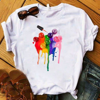 Women T Womens Graphic 3D Finger Nail Paint Color Fashion Cute Printed Top Tshirt Female Tee Shirt Ladies Clothes T-shirt 6