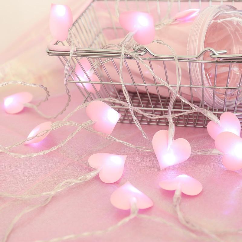 Rosa/blu amore cotone ghirlanda leggera san valentino camera da letto luce fidanzamento/anniversario/matrimonio/decorazioni per feste