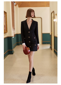 Image 5 - [EAM] Women Black Single Breasted Temperament Dress New V Neck Long Sleeve Loose Fit Fashion Tide Spring Autumn 2020 1H836