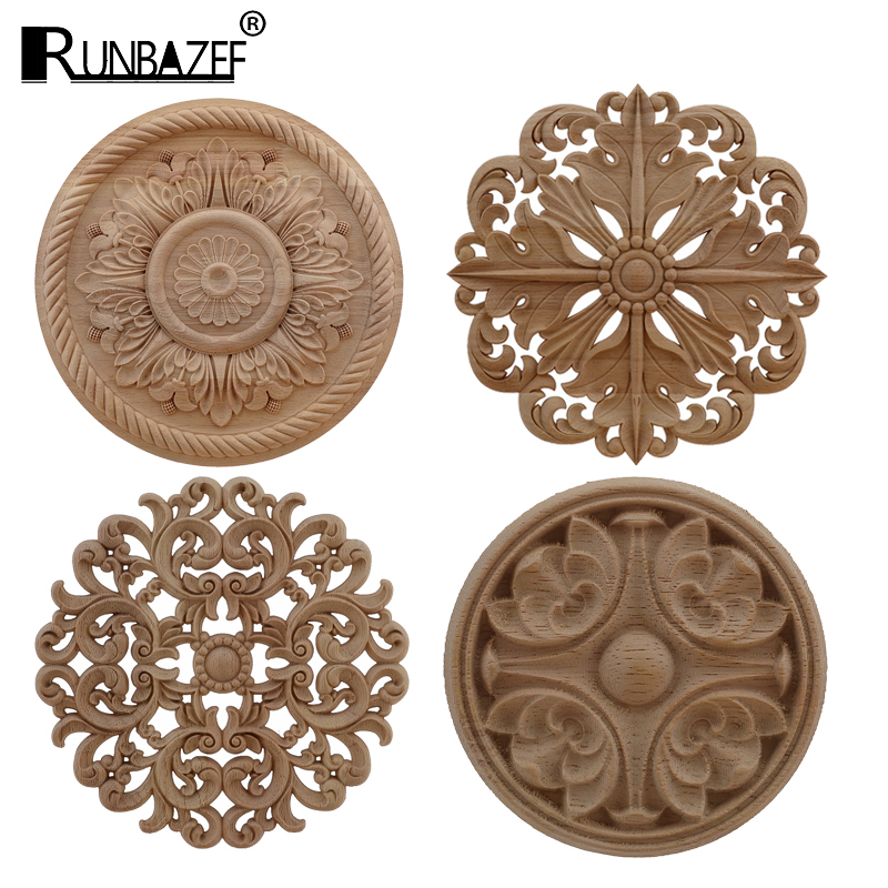 RUNBAZEF Wood Applique Onlay Wood Decal Exquisite Unpainted Decoration Rubber Wood European Oval Home Cabinet Window Hot Sale