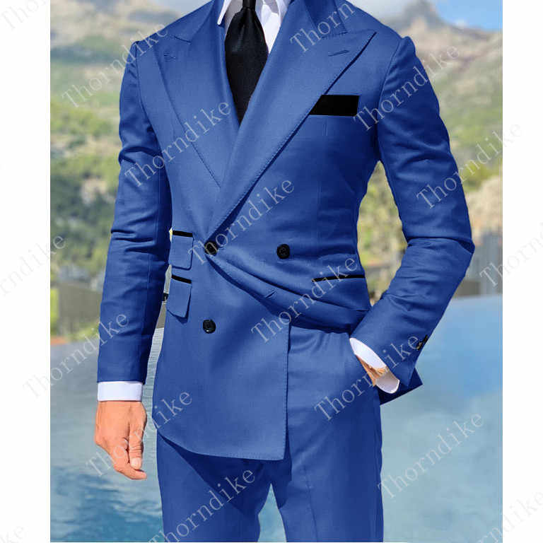 Royal Blue Double Breasted Suits Fashion Men Suits High Quality Custome Homme Terno Slim Fit Masculino Handsome (Jacket+Pants)