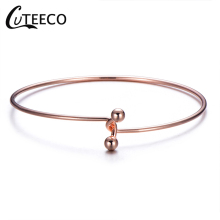 CUTEECO New Style Rose Gold Color Braceteselet Minimalist Pure Copper Bracelet&Bangle For Women Fashion Simple Jewelry Gift