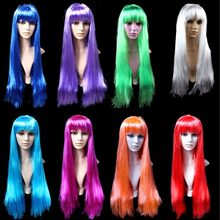 April Fool's Day Funny Cosplay Hair Wig Women Carnival Masquerade Party Synthetic Straight Long Wigs Halloween Hair piece 75CM(China)