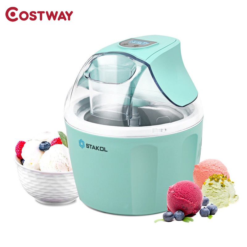 Costway 1.5 Quart Automatic Ice Cream Maker Freezer Dessert Machine Green Pink User Manual with Recipes Detachable Bowl EP23817 image