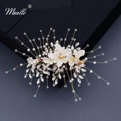 Женские заколки для волос Miallo, модные полимерные заколки с цветком, свадебные аксессуары с кристаллами, ювелирные украшения для волос золот...