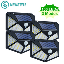 100 LED Solar Light Outdoor Solar Lamp Powered Sunlight Waterproof PIR Motion Sensor Street Light for Garden Decoration