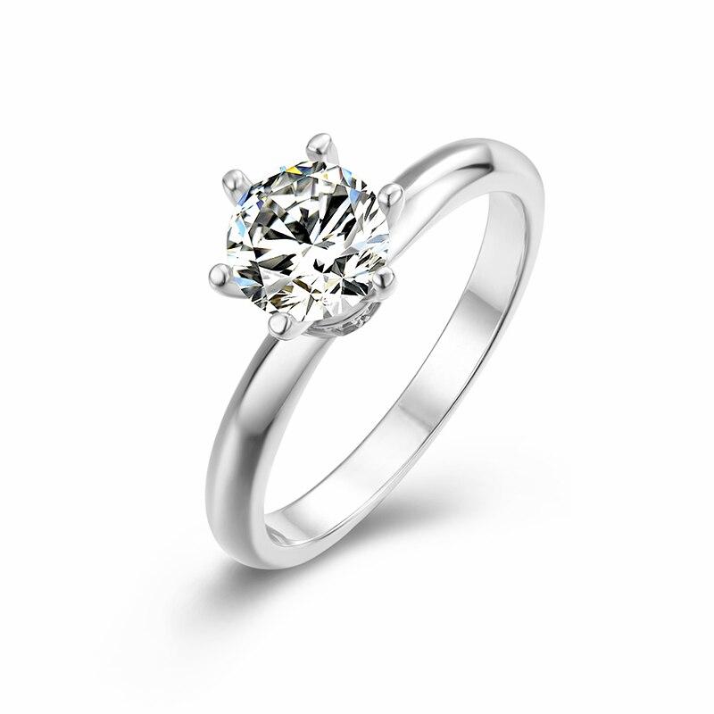 BOEYCJR 925 argent coeur 1ct D couleur Moissanite VVS1 élégant fiançailles bague de mariage avec certificat national pour les femmes cadeau