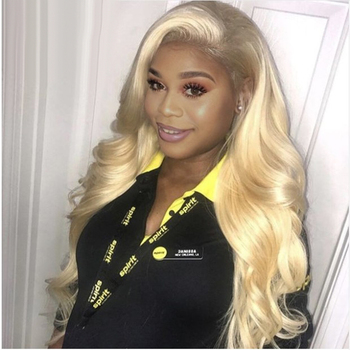 613 Blonde Lace Front Human Hair Wigs Body Wave 13x4 HD Lace Frontal Pre Plucked 8-26 150% Peruvian Remy Lace Wigs For Women image