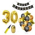 Schwarz Gold Glücklich Geburtstag Banner Luftballons Helium Anzahl Folien Ballon für Erwachsene 30 40 50 60 Geburtstag Party Dekorationen Jahrestag