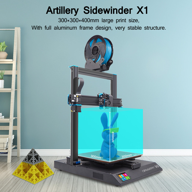 Artillery 3D Printer Kit Sidewinder X1 SW-X1 High Precision Large Plus Size 300*300*400mm Dual Z Axis TFT Touch Screen 5