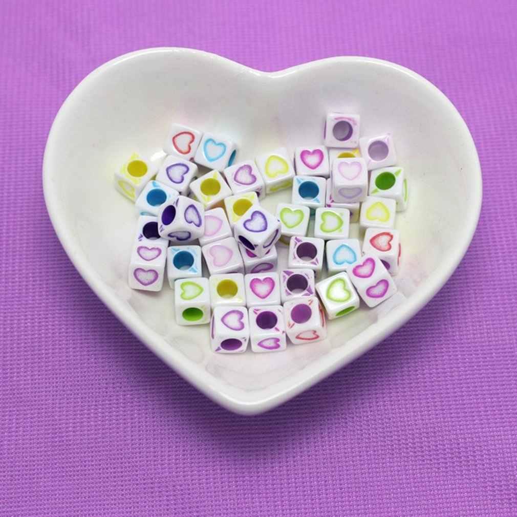 100 pièces bijoux à bricoler soi-même accessoires lettre perles à la main acrylique perle Kit bijoux perles ensemble colliers Bracelet faisant des jouets pour les filles