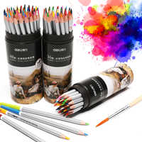 Deli 24/36/48 Colors Watercolor Color Pencil Set Cylinder Wood Colour Drawing Colored Pencils Rainbow School Crayon De Couleur