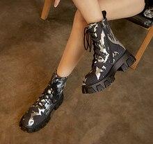 Женские ботильоны на платформе мотоциклетные ботинки массивном