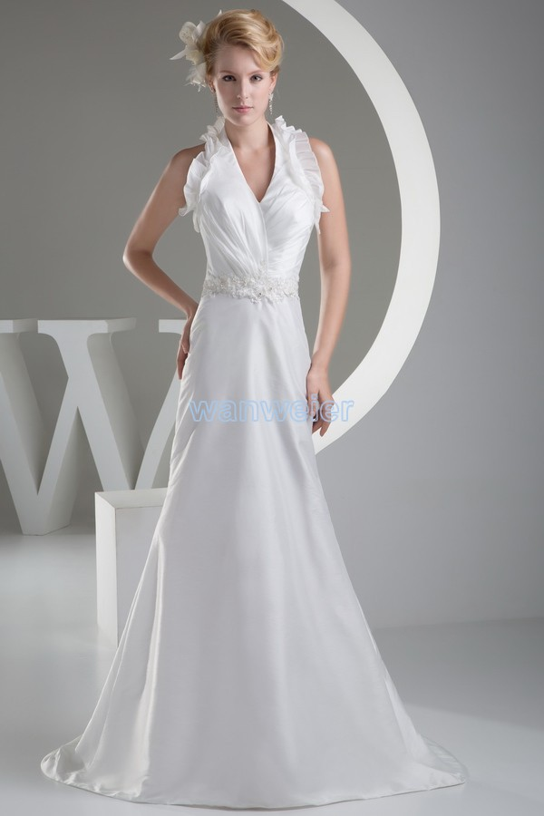 Free Shipping Off The Shoulder Custom Size/color Appliques White Halter Small Train Bridesmaid Dresses Mermaid Style