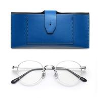 Gentle Titanium Glasses Men women Ultralight Round Myopia Prescription Eyeglasses Frame Male Metal Optical Screwless Eyewear