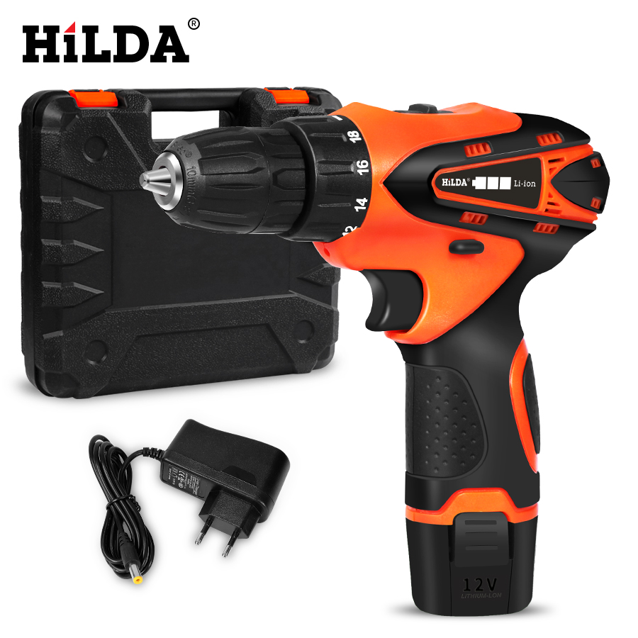 HILDA Cordless Screwdriver Electric Drill Lithium Battery  Mini Drill Cordless Screwdriver Power Tools Cordless Drill