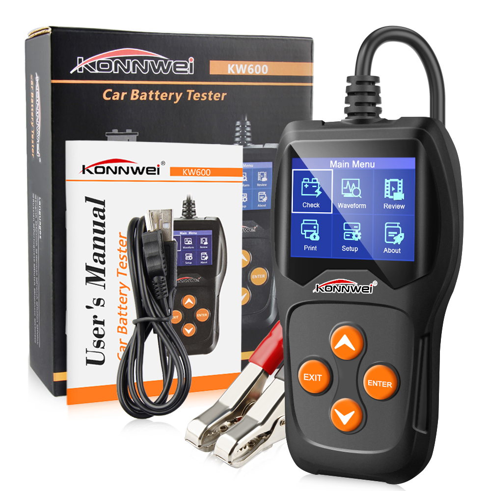 Professional 12V Car Battery Tester LCD waveform Graph Print Battery test tools for the car Quick Cranking Charging Diagnostic