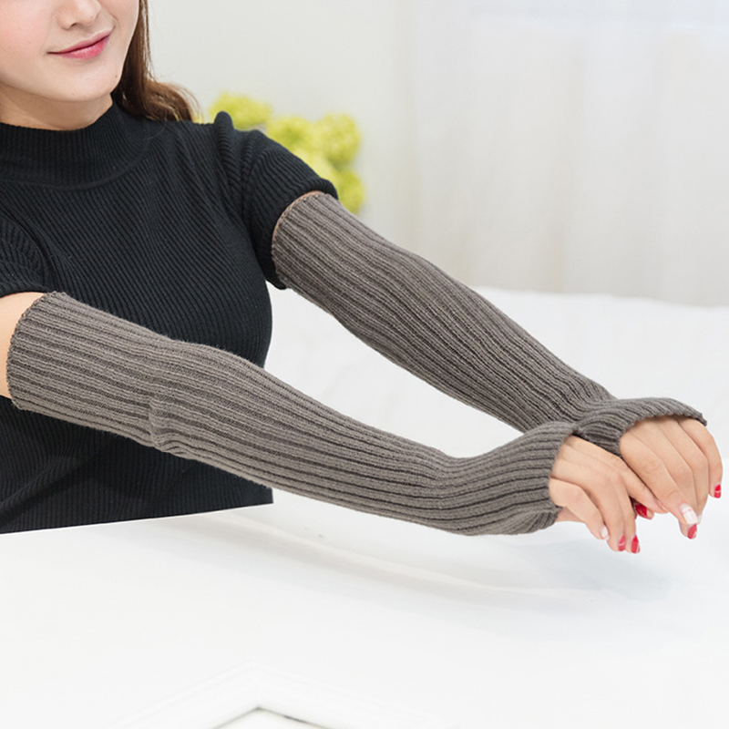 Winter Women's Arm Warmer Knitted Woolen Arm Sleeve Solid Color Fine Long Knitted Fingerless Gloves Simple Female Gloves Guantes