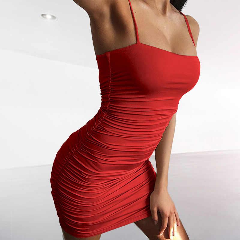 SheBlingBling Sexy noir ruché Bandage moulante robe femmes Mini robe d'été 2019 Club robe Spaghetti bretelles robes décontractées