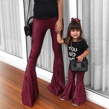 Лидер продаж, одежда для маленьких девочек штаны с оборками темно-бордовые детские штаны с колокольчиками одинаковые комплекты для мамы и детей подарок на день матери, летняя одежда