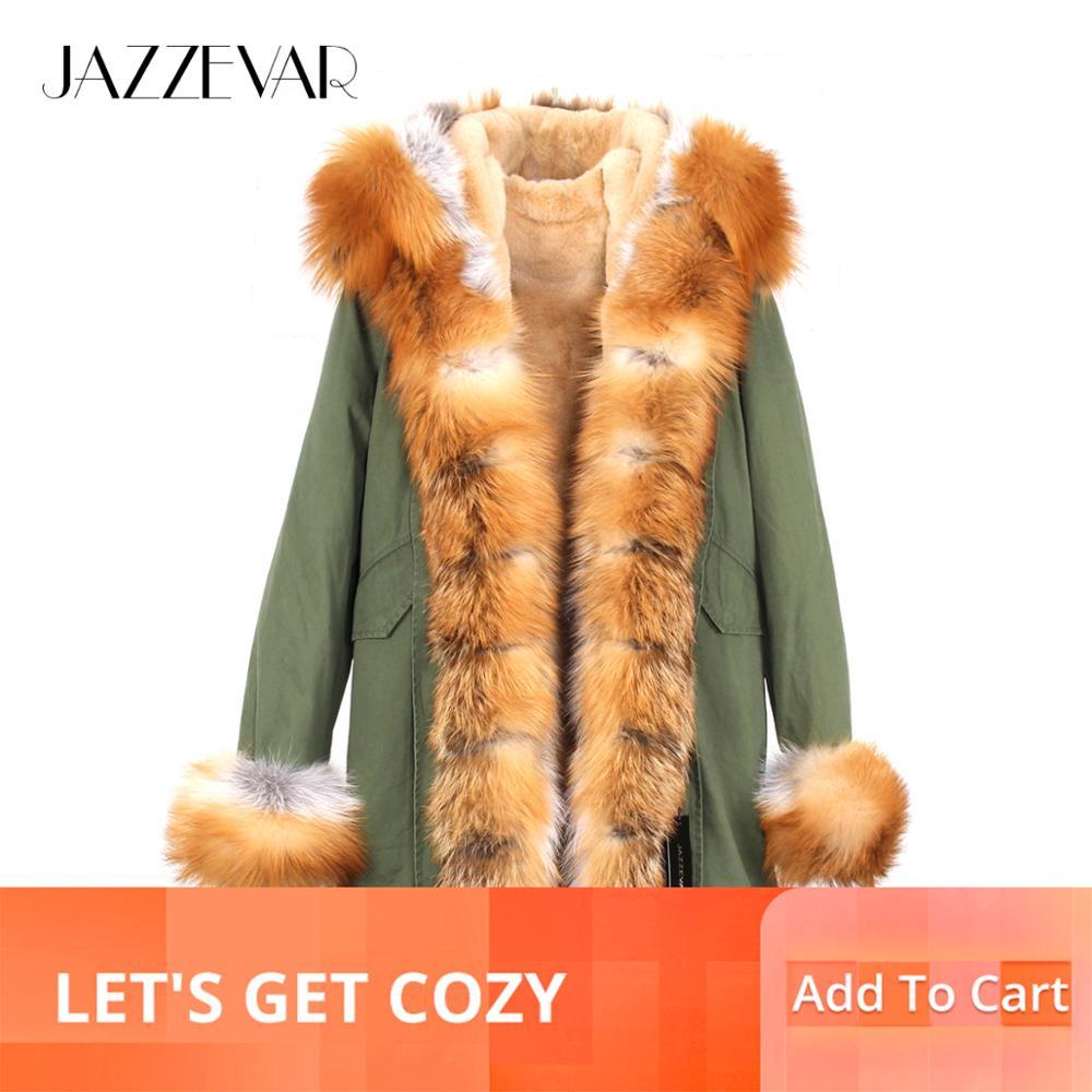 Fashion Women Real Fox Fur Collar Cuff Hooded Coat Long Parka Winter Warm Jacket