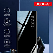 Mirror 30000mah Power Bank External Battery Pack LCD Portabl