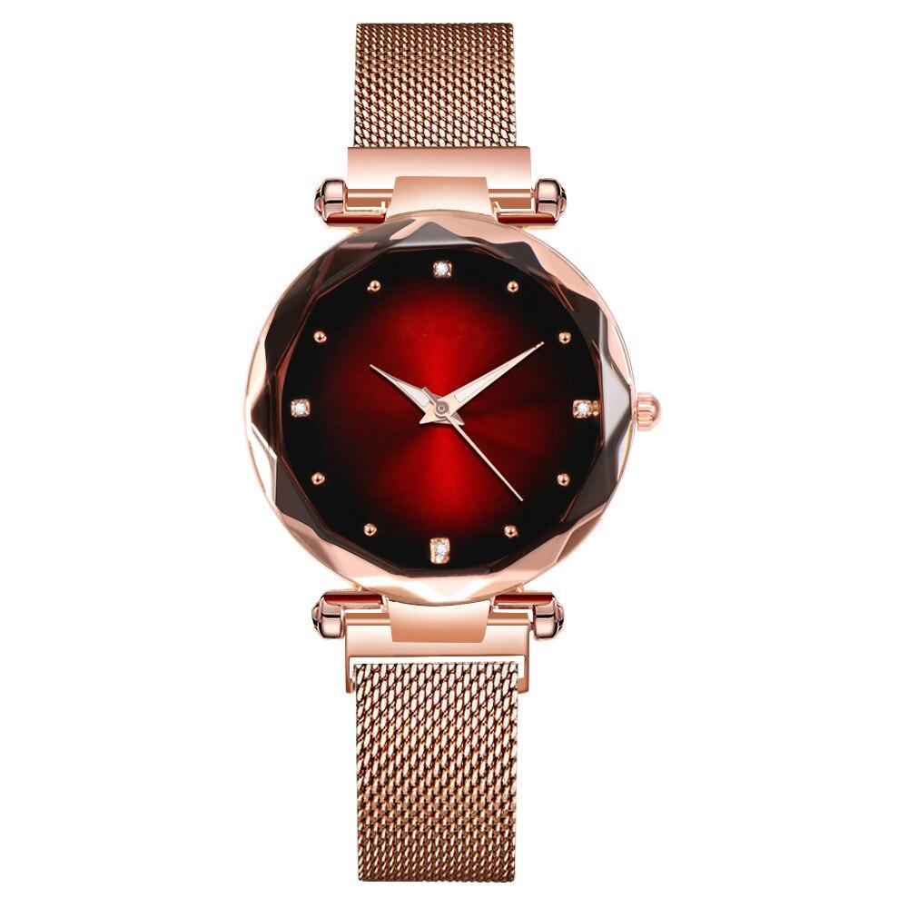 Роскошные женские часы со звездным циферблатом с магнитной пряжкой, ремешок из нержавеющей стали, кварцевые женские часы, женские часы под ...
