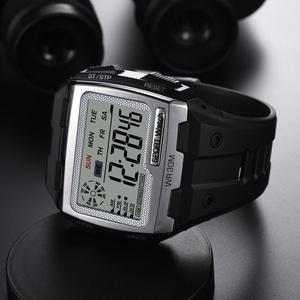 Image 5 - SYNOKE moda erkekler kare dijital saat aydınlık açık spor su geçirmez erkek izle LED ekran çok fonksiyonlu kol saati