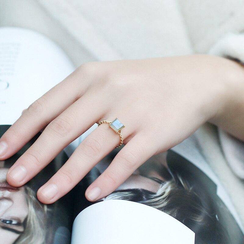 Rétro carré arc-en-ciel Labradorite bague en argent Sterling 925 minimaliste bague pour femmes or Vermeil Antique bijoux bague de fiançailles - 6