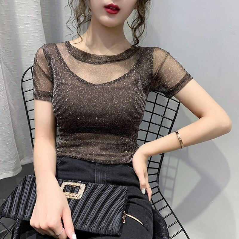 Summer Fashion Korean Clothes T-shirt Sexy Shiny Patchwork Mesh Women Tops Ropa Mujer Cotton Short Shirt Tees 2020 New T03401